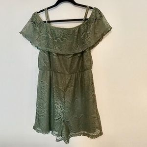 "Green ""Ultra Flirt"" Crochet Romper"
